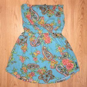 Floral/Paisley Strapless Short Summer Dress